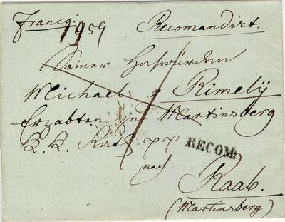 Levél, 1850 Pannonhalmára (Martinsbergbe)