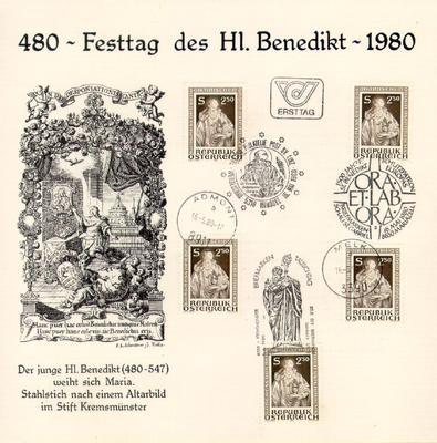 Szent Benedek bélyegeken